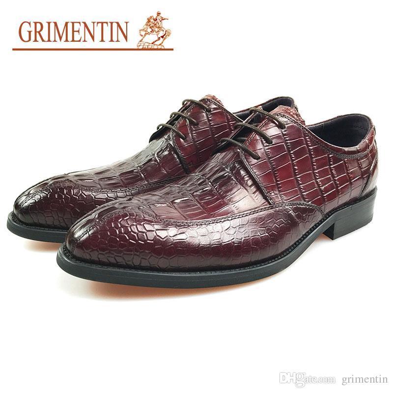d967db6c2bf Compre GRIMENTIN 2019 Nuevos Hombres Visten Zapatos De Lujo Estilo  Cocodrilo Italiano Zapatos De Oficina De Negocios Formales De Moda De Cuero  Genuino ...