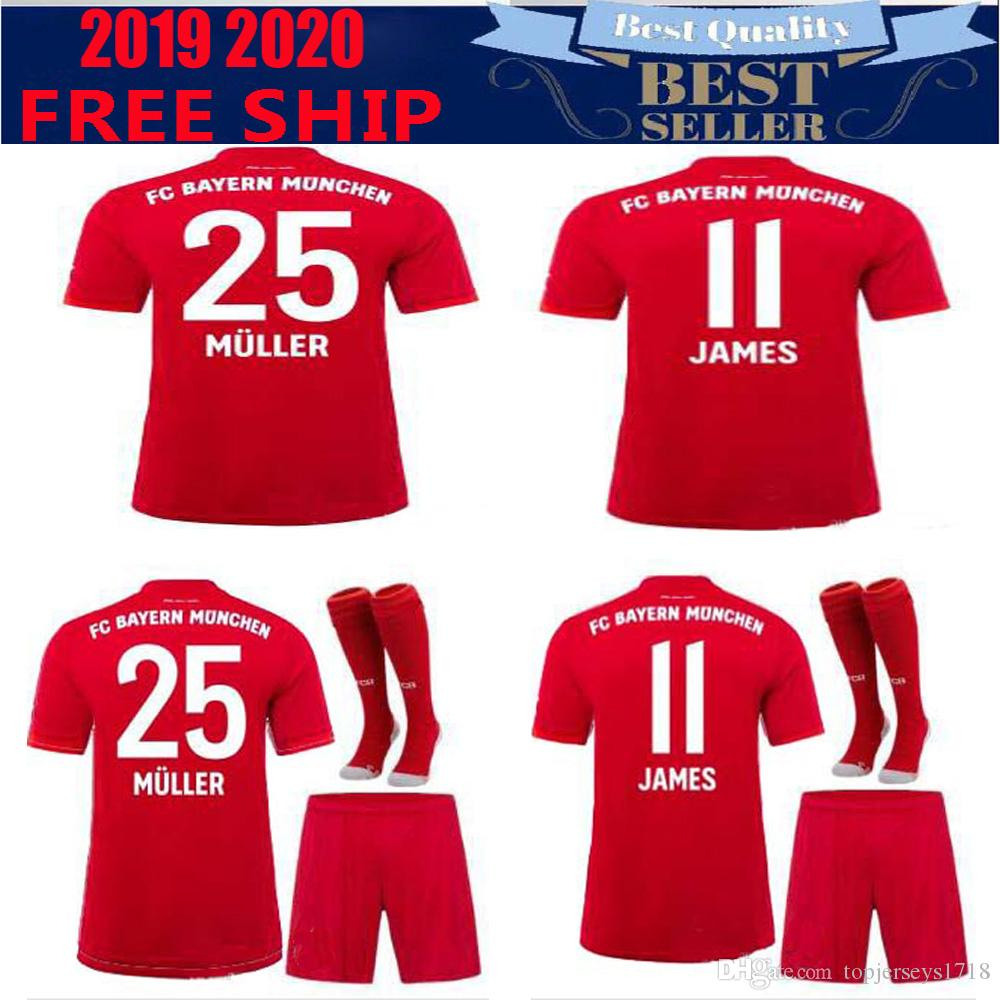super cute 6576d b43e9 Thailand Bayern Munich Soccer jersey JAMES RODRIGUEZ 2019 2020 LEWANDOWSKI  MULLER KIMMICH 19 20 HUMMELS Football shirt Champions