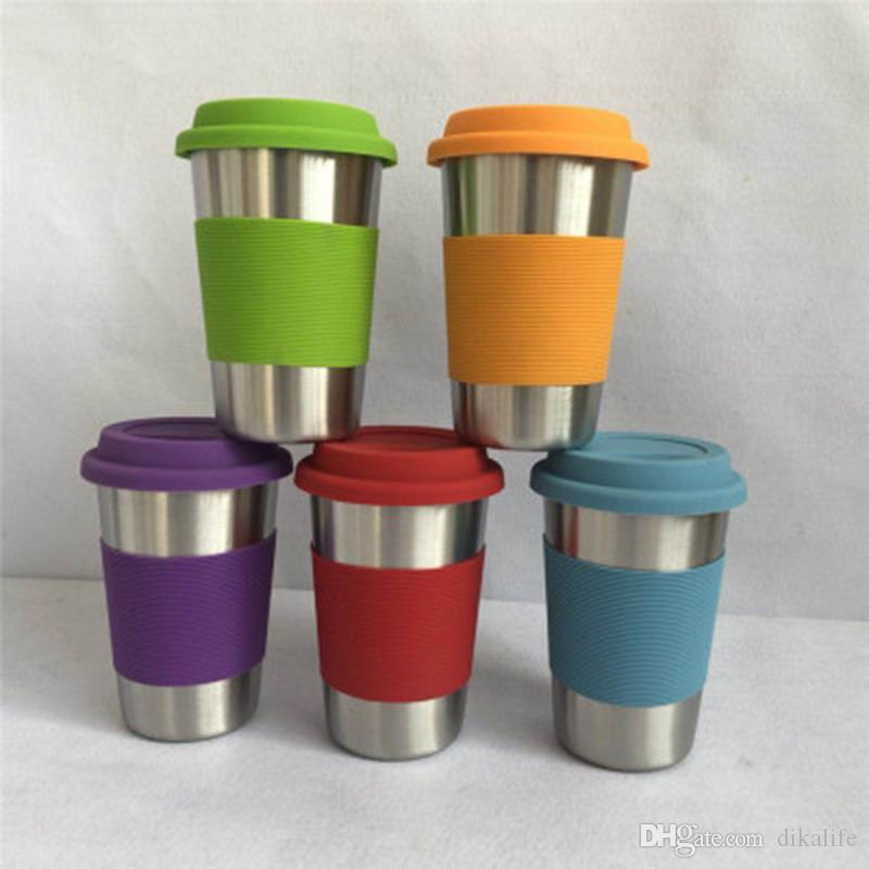 b965d4f9240 500ml Wine Glasses Stainless Steel Tumbler 8.5oz Cups Travel Vehicle Beer  Mug Non Vacuum Mugs With Silicone Lids Coffe Mugs Coffee And Tea Mugs From  ...