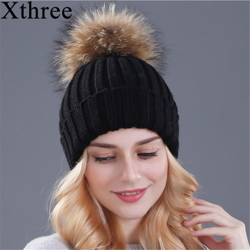 162873abb2c Xthree Mink And Fox Fur Ball Cap Pom Poms Winter Hat For Women Girl  S Hat  Knitted Beanies Cap Brand New Thick Female Cap S18120302 Ski Hats Newborn  Hats ...