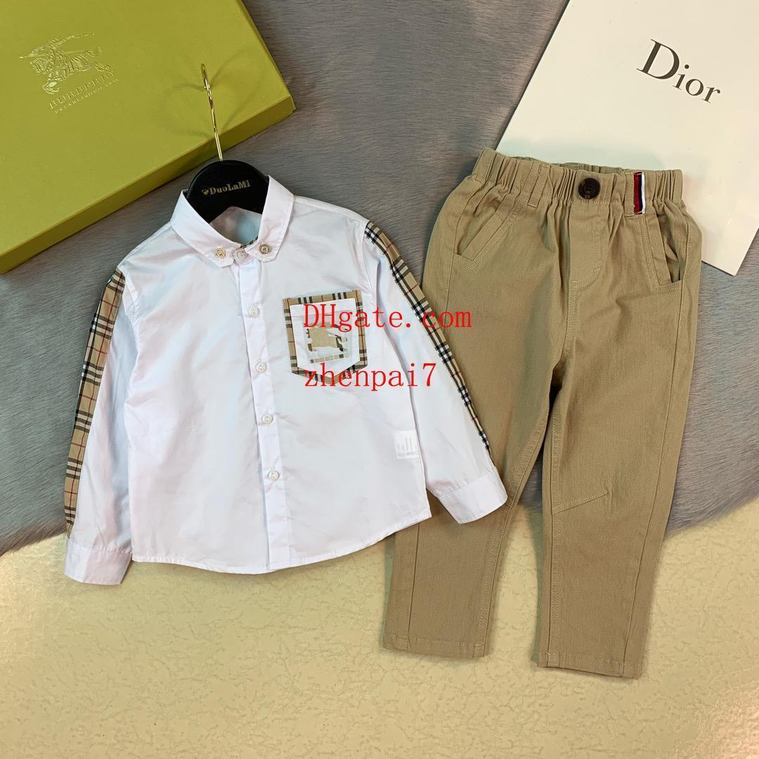 2019 kids pants set kids clothes boys autunm Classic checkered polo shirt Casual pants suit 2pcs suit baby boy girl Clothes AB-5