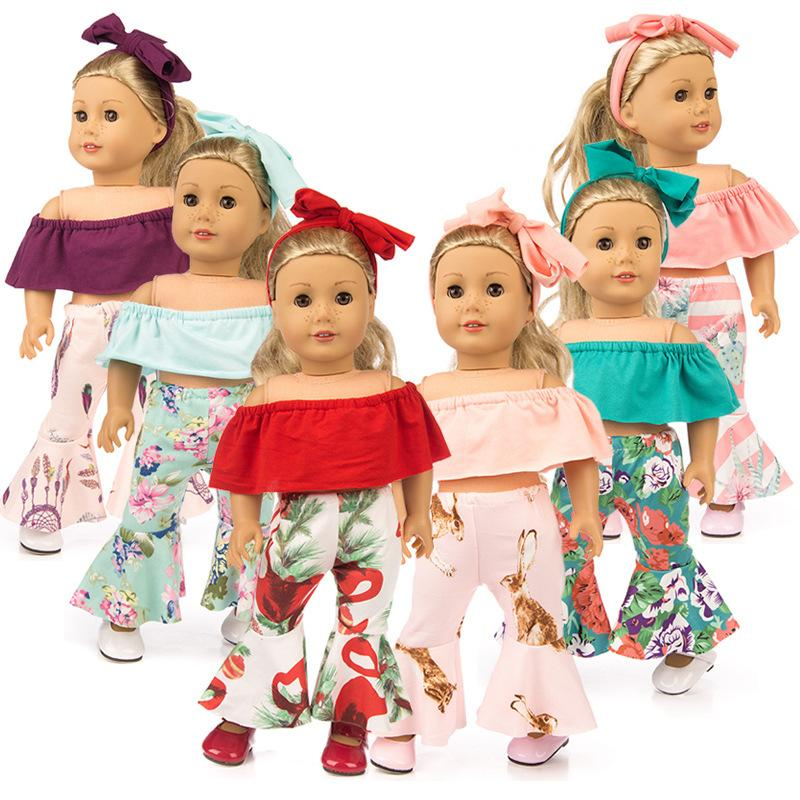 Off Shoulder Cloth Bell Bottomed Pants Hair Band Sets Outfit Suit for 18 Inch Doll Clothes American Girl Doll
