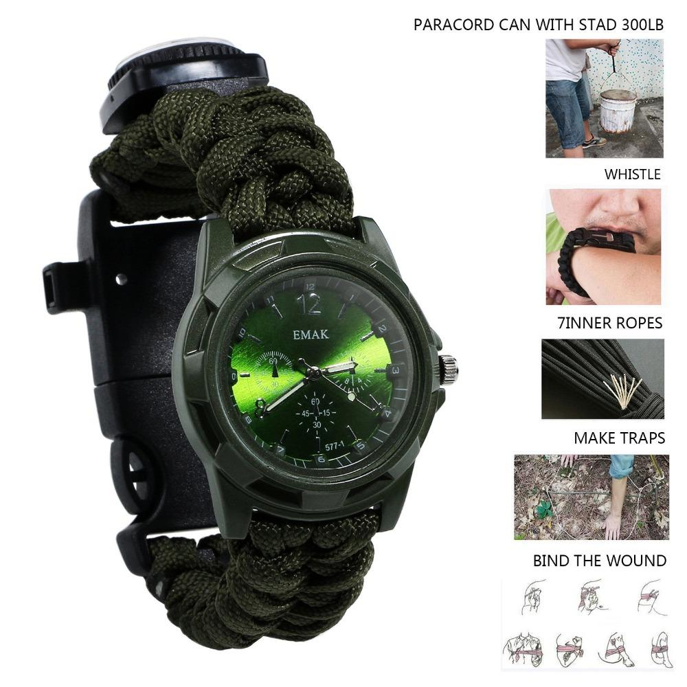 Outdoor camping survival tools Camping Medical Multi-functional Compass Thermometer Rescue Paracord Bracelet Equipment Tools kit (10)