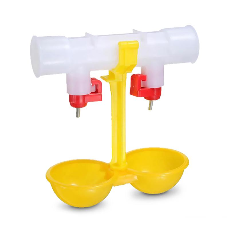 10 Pcs Chicken Drinking Fountain Double Hanging Cup Ball Nipple Drinkers 25Cm Chicken Equipment Quail Feeders