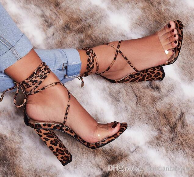 d88b995905079 Fashion Women Heeled Sandals Leopard Print Ankle Strap Pumps Super ...
