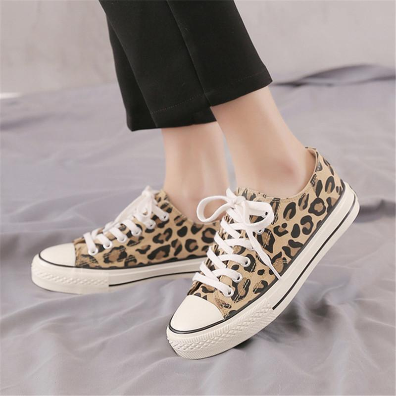 b68420a8e282 Brand Women Casual Shoes Women Sneakers 2019 Fashion Lace Up Female Shoes  Spring Autumn Comfotable for Leopard Print Women s Flats Cheap Women s  Flats Brand ...