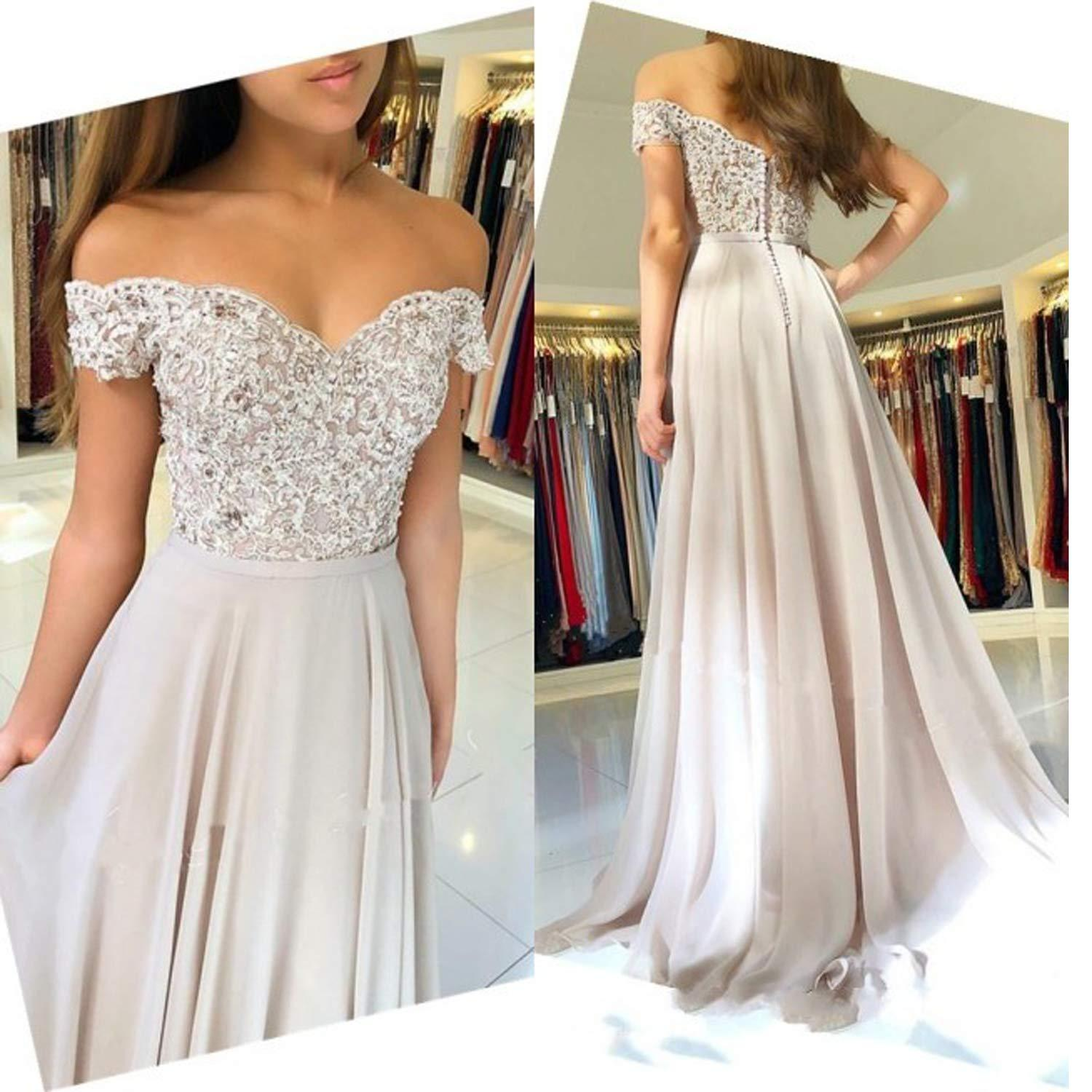 2c5fa1949f0 Off The Shoulder Prom Dresses 2019 Bead Lace Chiffon Evening Gowns Cocktail  Party Ball Bridesmaid Dress Special Occasion Formal Gown Mint Green Prom  Dresses ...