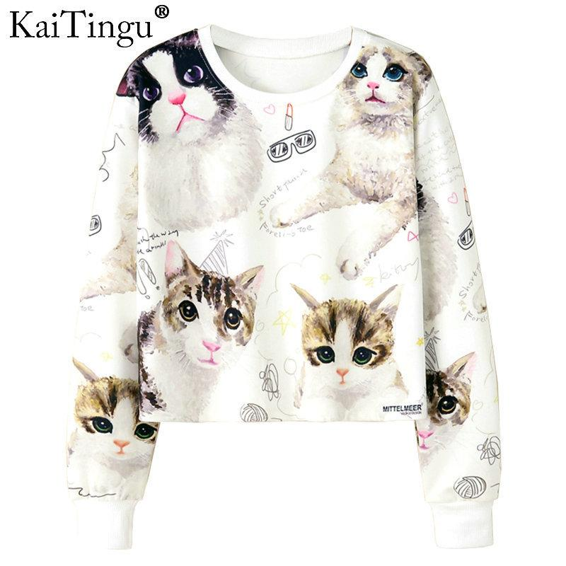 2019 KaiTingu Women Casual Pullover Harajuku Fashion Crop Tops Long Sleeve  Ladies Kawaii Cat Short Cropped Sweatshirt Autumn Winter D18103004 From  Tai03 6a3e2174b1b9