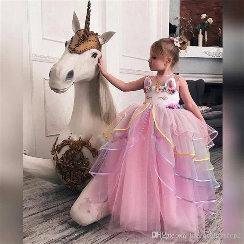 106983e1c Unicornio Vestido para Niñas Bordado 6 Años Disfraz de Niño Adolescente  Vestidos de Princesa Vestido de Baile Cosplay Chica de Halloween Vestidos