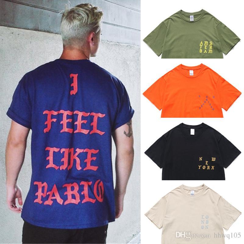 1e161a3e803 Acheter Je Me Sens Comme Pablo Tee Hommes Kanye West T Shirt Coton Manches  Courtes Femmes Hommes Mode Pablo T Shirt Hip Hop Club Tops HOH0301 De   14.22 Du ...