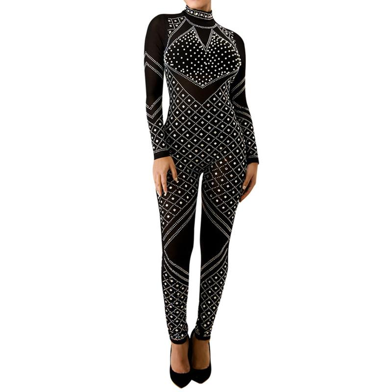 Women Shiny Rhinestone Jumpsuits Sexy See Through O Neck Sheath Rompers Winter Full Sleeve Zipper Nightclub Birthday
