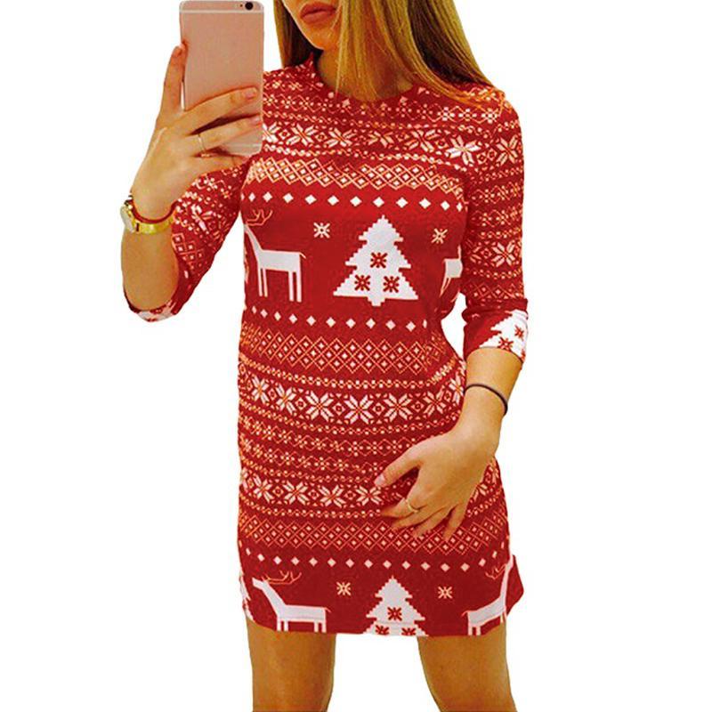9d0cb3ff5 Otoño de las mujeres vestido de invierno impresión navidad reno árbol copo  de nieve informal de navidad mini vestidos de fiesta mujer rojo / negro ...