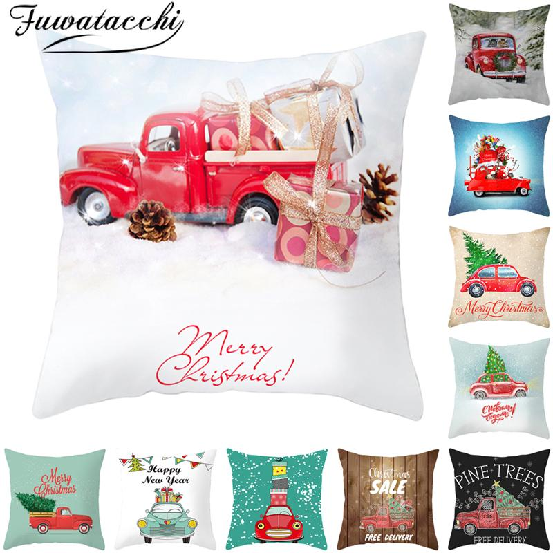 Fuwatacchi Red Car Pillowcase Christmas Pillow Mat Cover Polyester Home Sofa Chair Decorative Pillows Happy New Year Cotton Case