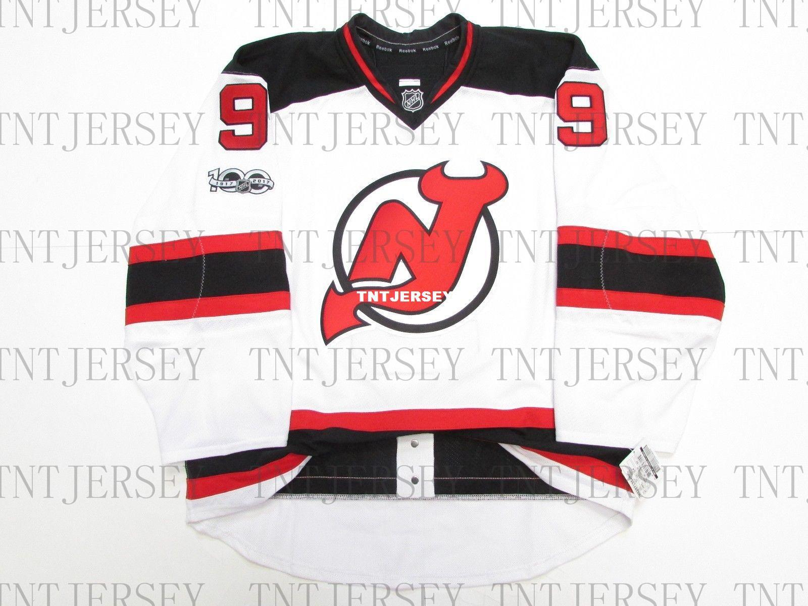 hot sale online 94b29 ca43b Cheap custom Taylor Hall NEW JERSEY DEVILS AWAY 100th ANNIVERSARY JERSEY  stitch add any number any name Mens Hockey Jersey XS-5XL