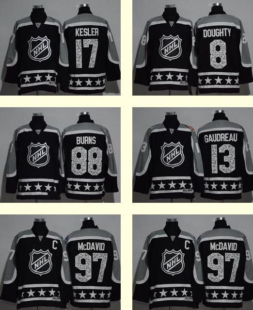 finest selection 67e75 d53df 2017 All Star 17 Ryan Kesler 8 Drew Doughty 88 Brent Burns 13 Johnny  Gaudreau 97 Connor McDavid Black Ice Hockey jerseys Top quality jerseys