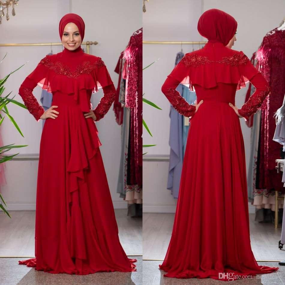 Muslim Evening Dresses 2019 Long Sleeves Satin Customized Formal Hijab Islamic  Dubai Kaftan Saudi Arabic Floor Length Red Evening Gown Fashion Evening ... 2bdac91be50f