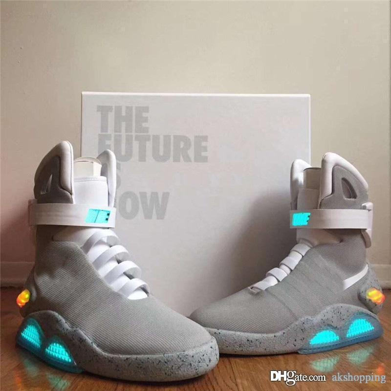 Automatic Laces Air Mag Sneakers Marty McFly's LED Shoes Back To The Future Glow In The Dark Gray Boots McFlys Sneakers With Box
