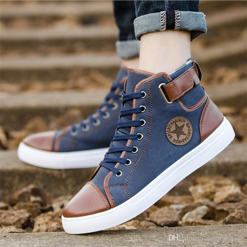 66cd2d6eae9 2018 New Arrive Men Causal Shoes Autumn Winter Front Lace-up Leather Ankle  Boots Shoes Man Casual High Top Canvas Shoe Superstar #228927