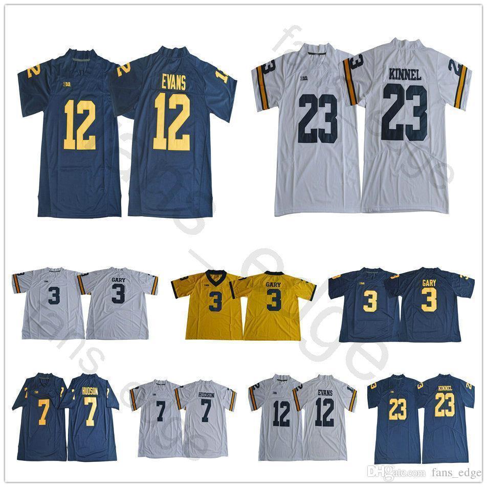 1518b39e70c Compre Ncaa Michigan Wolverines Mens # 3 Rashan Gary Jersey 7 Khaleke  Hudson 12 Chris Evans 23 Tyree Kinnel Azul Blanco Oro Camisetas De Fútbol  ...