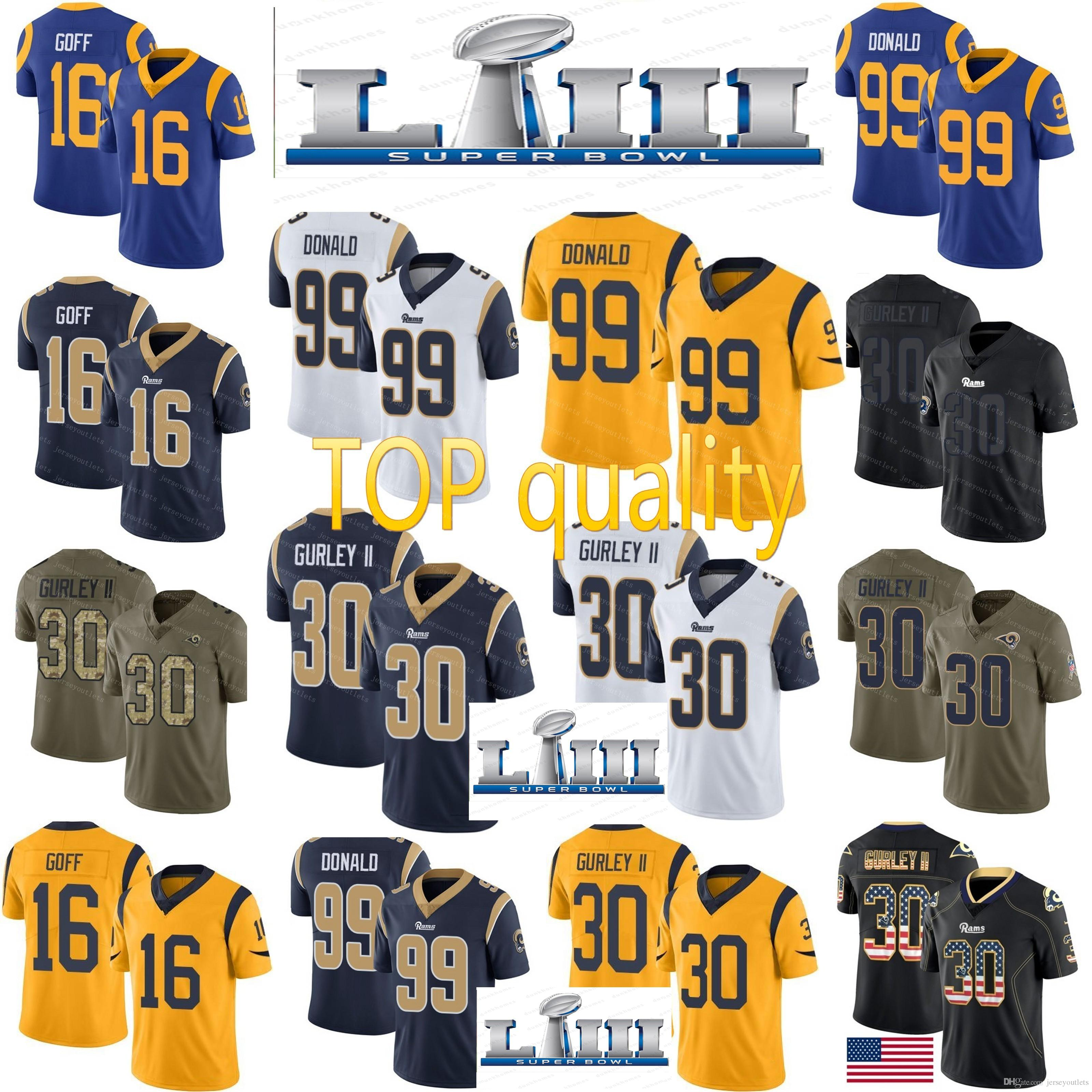 66c86144c 2019 2019 Super Bowl Rams 30 Todd Gurley 16 Jared Goff Jersey 5 Nick Foles  Rams 99 Aaron Donald Jerseys Cheap Sale From Jerseyoutlets