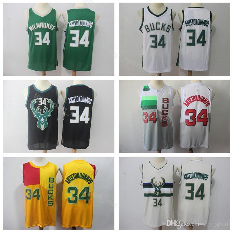 cdd71cee235 2019 Men Bucks Jersey Milwaukee Basketball 34 Giannis Antetokounmpo Jerseys  City Earned Edition Black Green White Yellow Beige High Quality From ...