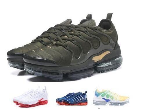 2610b48195e42 Acheter Designer De Luxe 2019 TN Plus Chaussures De Course Sneakers Hommes  Femmes Homme Baskets Tennis Triple Vert Tns Cargo Neon Classique Run Sport  Marque ...