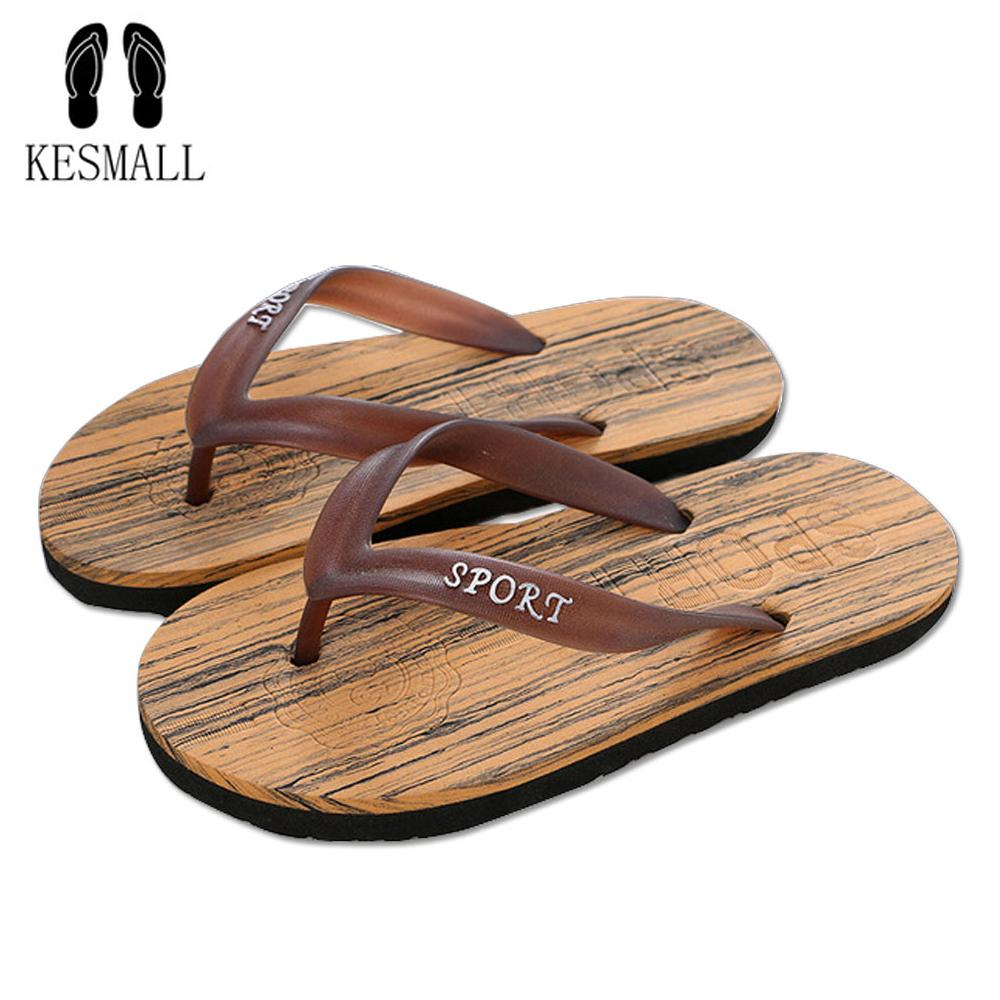 e2b402cf26894 KESMALL Summer Casual Men Wood Grain Flat Wedge Sandals Bathroom Non Slip Flip  Flops Slippers Beach WS91 Footwear Ladies Shoes From Juiccy