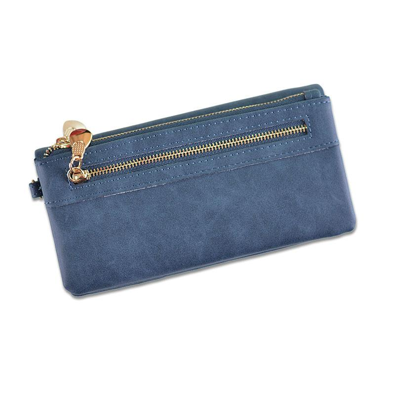 1cda4326a19c Fashion Women Wallets Long Dull Polish Pu Leather Wallet Female Double  Zipper Clutch Coin Purse Vintage Ladies Wristlet S182