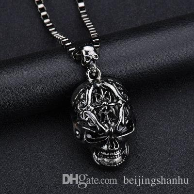2019 New Punk Men Biker Motorcycle Style Black Stainless Steel Skull Pendants Necklaces Charm Jewelry Party Gift N1261