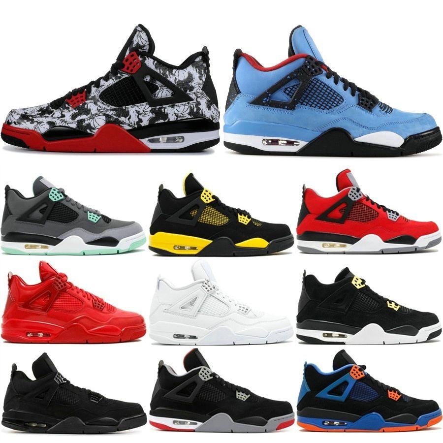 the latest 13e07 4c20f Acheter Hommes Nike Air Jordan Retro 4 4S Basketball Chaussures Cactus Jack  Blanc Ciment Jeu Royal Motor Meilleure Qualité Hommes Sport Sneakers  Designer ...