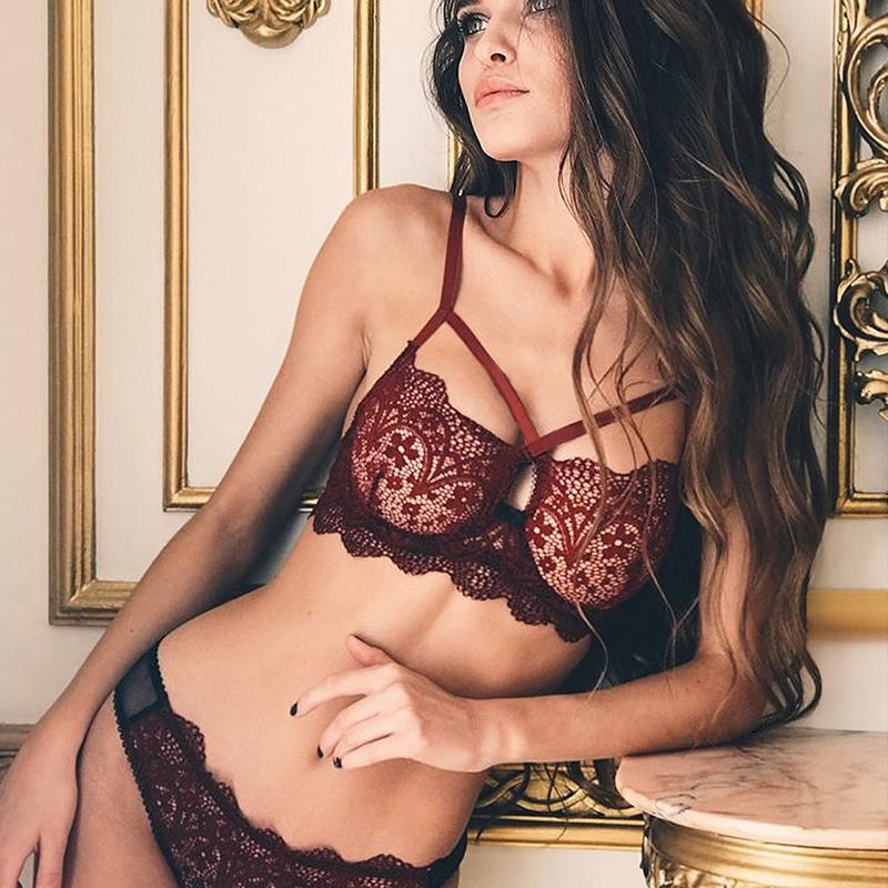 fe9aeeb3b71e 2019 CWXANS Sexy Lace Bra Set Women Red Floral Push Up Transparent Bralette  Plus Size Lingerie 2018 Seamless Underwear Briefs Sets From Yuhuicuo, ...