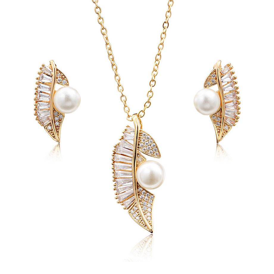6222778cd9 Copper plated genuine gold leaf shape Natural Pearl Bridal Necklace  Earrings Set