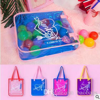 Whole Summer Pinkycolor PVC Totes Women Children Beach Bags Seaside Playing Children Waterproof Toy Bag Large Capacity Shoulder Bags Cheap