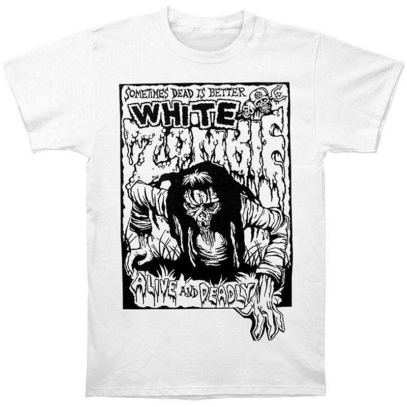 Design Style New Fashion Sleeve Broadcloth O-Neck Short-Sleeve White Zombie Men's Alive Deadly T-shirt White T Shirt For Men