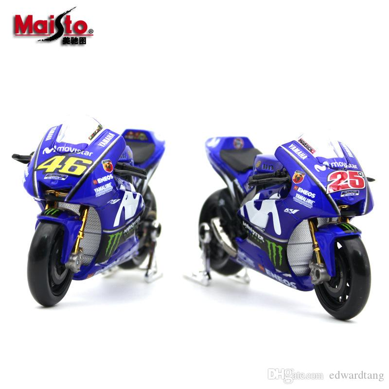 Maisto Aloy Car Model Toy, 2018 Yamaha YZR-M1, Racing Motorcycle NO.46, 1:18 Scale, for Kid' Party Birthday Gift, Collecting,Home Decoration