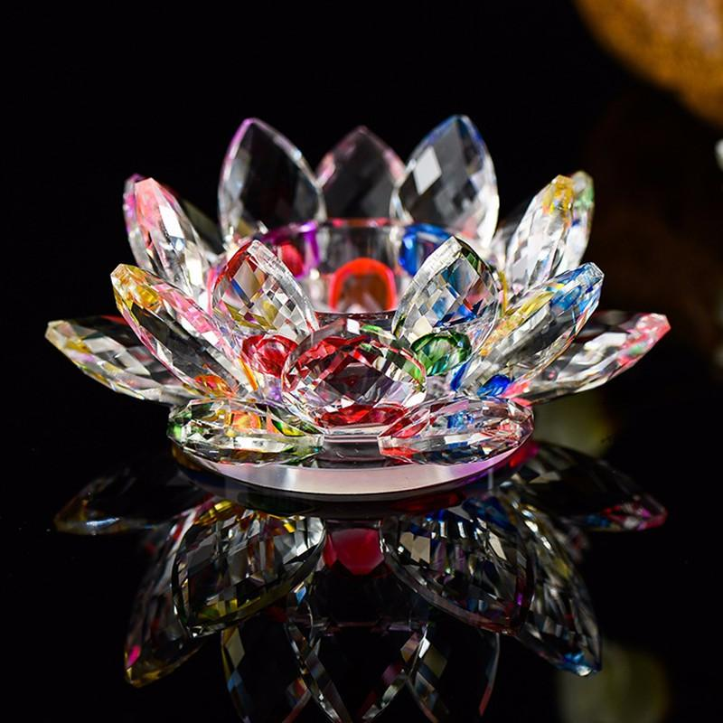 Crystal Glass Lotus Flower Candle Holders 7 Colors Europe Bowl Candlestick For Candelabra Centerpieces Wedding Home Bar Party Decoration