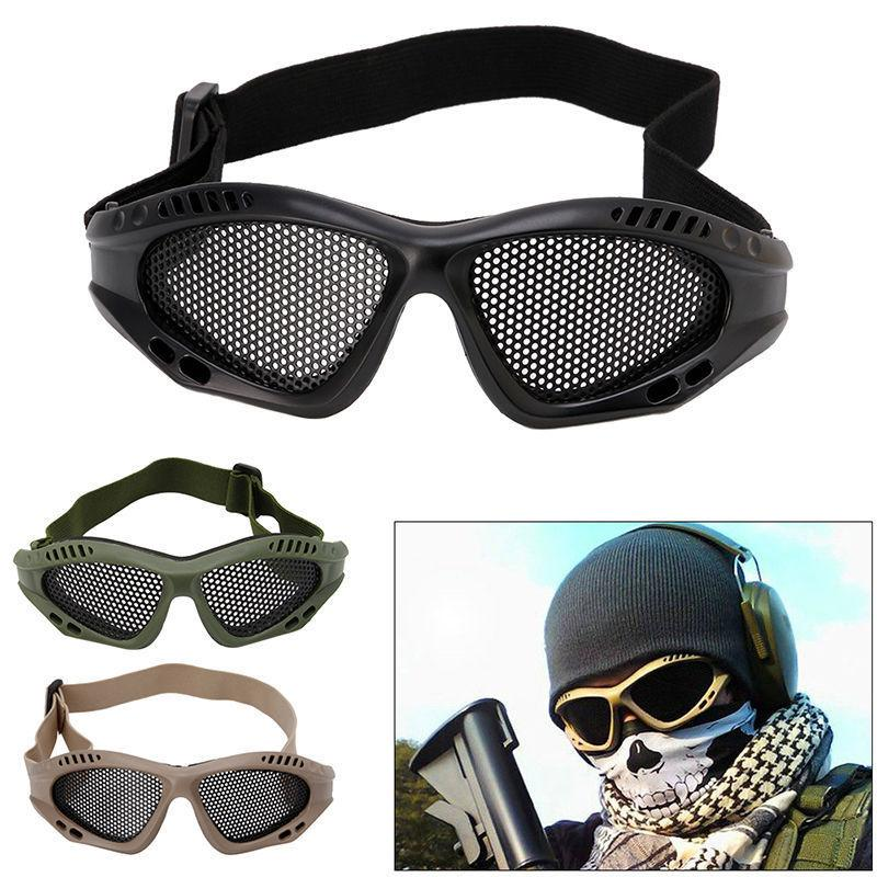 3 colors Safety Glasses metal net Goggles Anti-Explosion Outer Protective Eyewear For Field game Accessories MMA1178