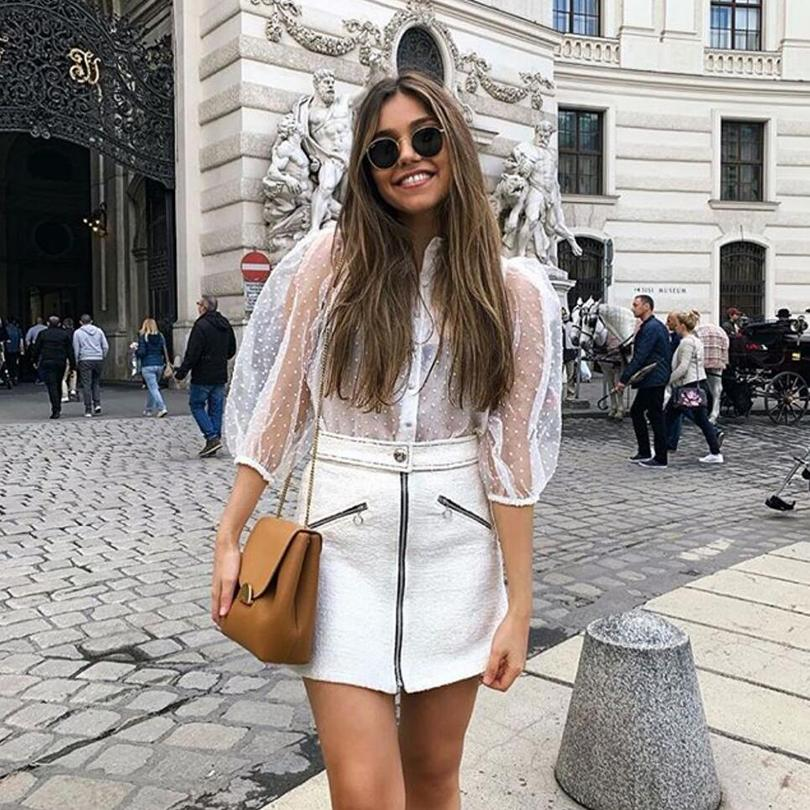 bcdd1408ea 2019 New Streetwear Semi -sheer dotted mesh blouse half sleeve with elastic  turn-down collar button white shirts