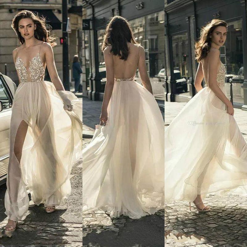 4869b06633 Discount Sexy Front Split Beach Wedding Dresses 2019 Liz Martinez Spaghetti  Deep Plunging V Neckline Boho Wedding Gowns Applique Beads Bridal Dress  Wedding ...