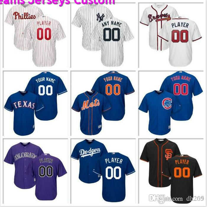 Hommes sur mesure Baseball Rockies du Colorado Jersey Houston Astros Washington Nationals Los Angeles Angels Tigers officiels maillots de base frais pas cher