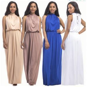 Halter Long Dresses Floor Length Ladies Formal High Waist Plus-Size ...