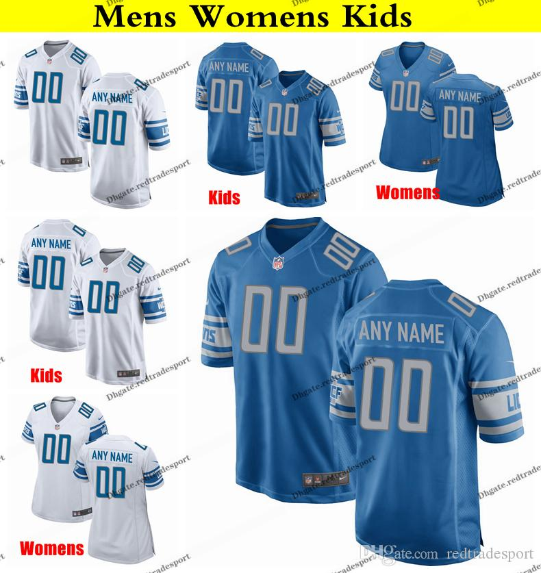 low priced 9eef1 79c8d Customize Detroit Mens Womens Kids Lions Trey Flowers 19 Kenny Golladay 20  Barry Sanders 81 Johnson 23 Darius Slay Jr Football Jersey