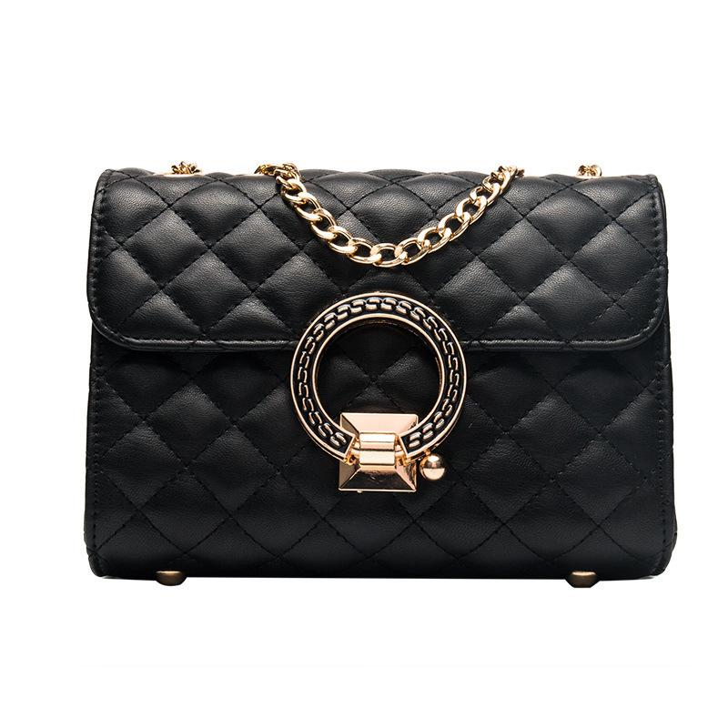 Cool2019 Bag All-match Cable Satchel Woman Diamond Lattice Chain Single Shoulder Small Square Package