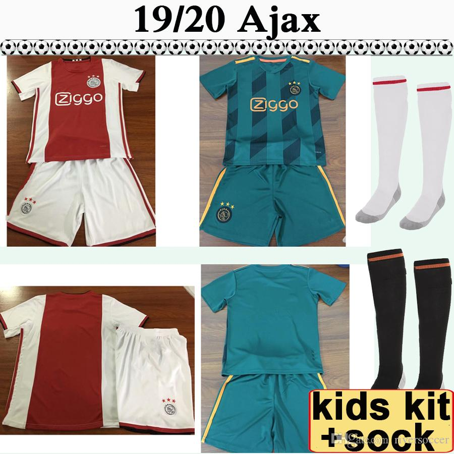 19 20 Ajax TADIC ZIYECH Kids Kit Soccer Jerseys NERES DOLBERG DE LIGT DOLBERG Home Away Football Shirts New DE JONG HUNTELAAR Socks