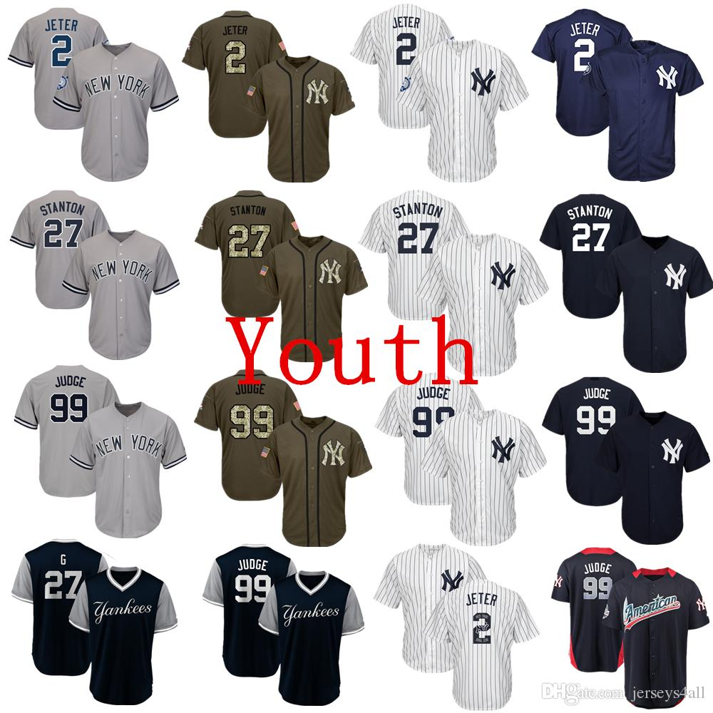 new product 639b3 c58ed Youth Kids Child New York Yankees Baseball Jerseys 99 Aaron Judge Jersey  Navy Blue White Gray Grey
