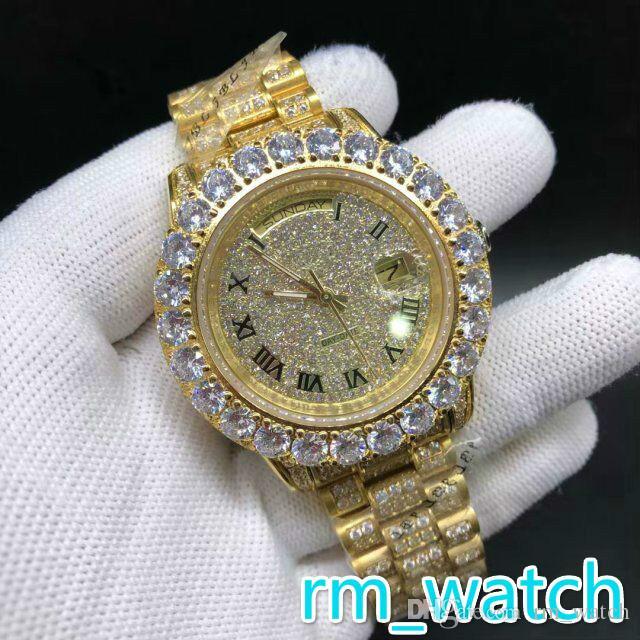 0ae74c0953ff Enorme conjunto de diamantes engastados bisel reloj de pulsera 43 MM  completamente helado caja de oro de acero inoxidable conjunto de dientes ...
