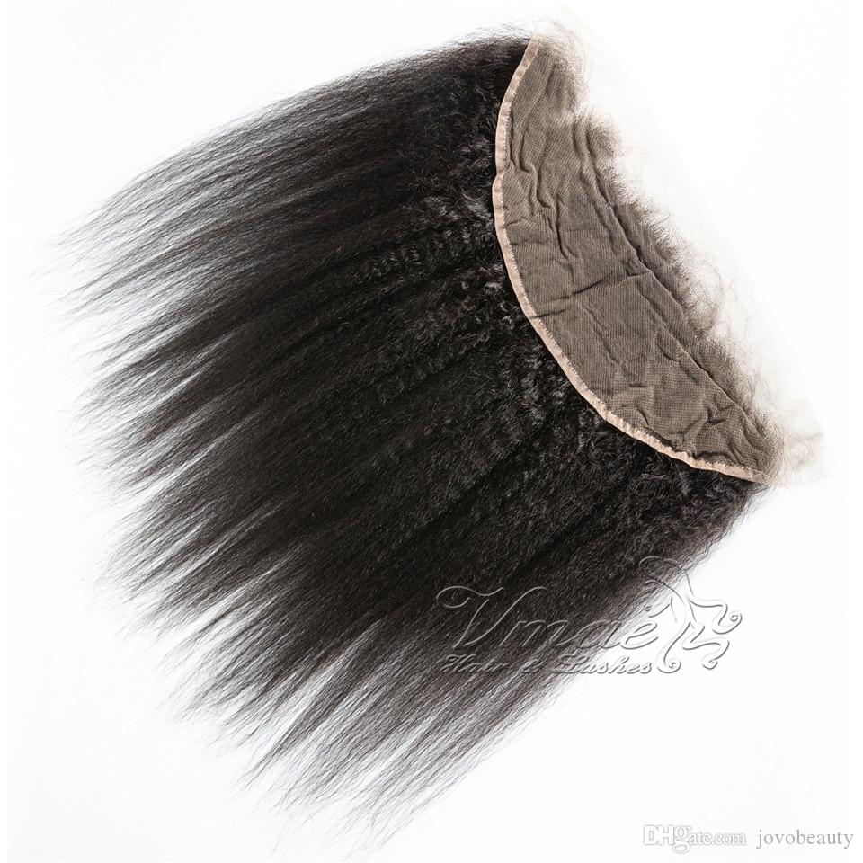 Yaki Lace Frontal Closure Brasileño Kinky Straight Virgin Humano Yaki Hair Closure VMAE De oreja a oreja 13 * 4 pulgadas Suave Grueso Full Lace Frontal