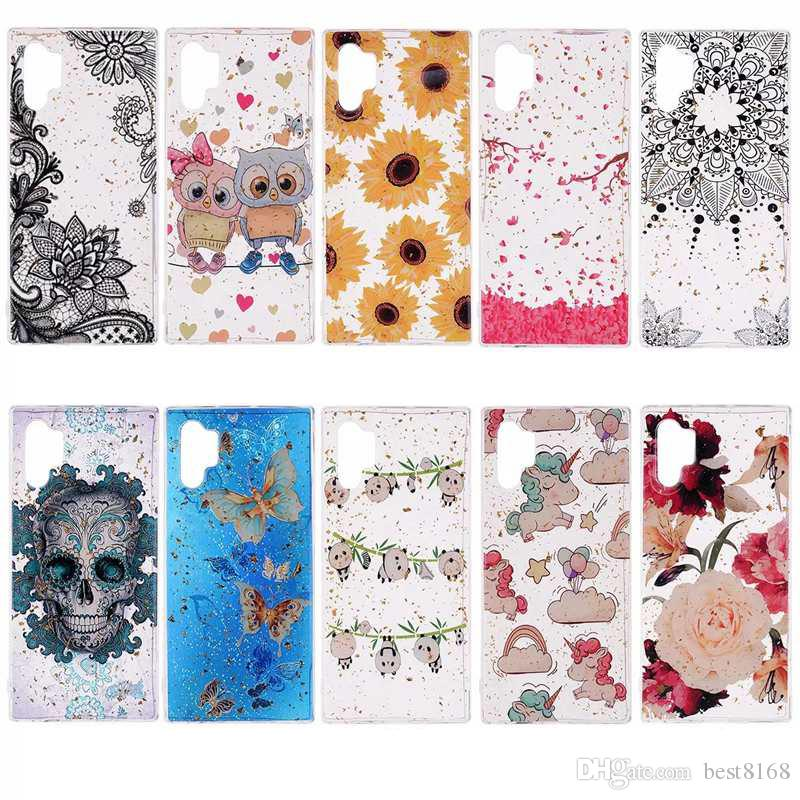 Foil Bling Sequin Case For Samsung Note 10 Pro P20 Lite 2019 Cartoon Luxury Soft TPU Flower Owl Lace Unicorn Sparkle Confetti Skull Cover