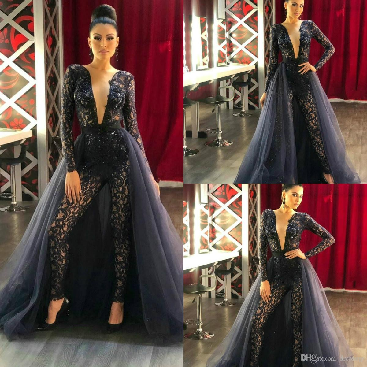 cd07b8e9c04 Women Jumpsuit With Long Train Beaded Sexy Evening Gowns Deep V Neck Prom Dress  Sweep Train Lace Appliqued Party Zuhair Murad Dress Vestidos Dress Shop ...