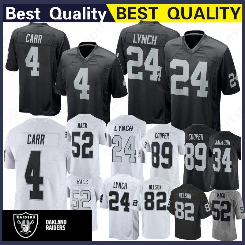best website e9f07 9f7ea Oakland Rainders 4 Derek Carr Jersey 24 Marshawn Lynch 82 Jordy Nelson 52  Khalil Mack 89 Amari Cooper Football Jerseys Stitched